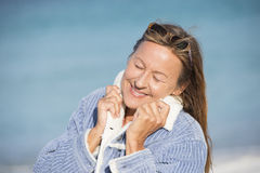 Peaceful relaxed smiling woman outdoor Royalty Free Stock Photography