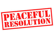 PEACEFUL RESOLUTION. Red Rubber Stamp over a white background royalty free illustration