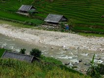 Peaceful Rice Farm Near A River In Mountains Stock Image