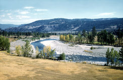 Peaceful River Valley British Columbia Canada. A peaceful river valley in British Columbia, Canada. Kodachrome drum scan stock photo