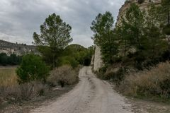 Peaceful road. In a tranquil landscape in spring Royalty Free Stock Photography