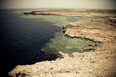Peaceful rock bay in the red sea region, sinai, egypt. tinted Stock Photo