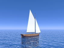 Peaceful sailboat - 3D render Stock Photography