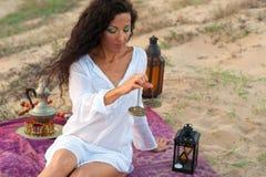 Peaceful scene. Hispanic woman in a peaceful spiritual setting Royalty Free Stock Photos