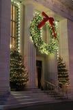 Peaceful scene of Christmas wreath and trees, adorning Adirondack Trust Co, Saratoga,New York,2015 Stock Photo