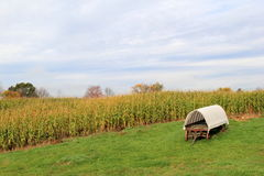 Peaceful scene of covered wagon in open field Stock Photos