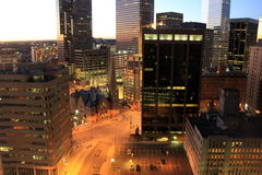Peaceful scene of early morning sunrise,downtown Denver,Colorado,2015 Royalty Free Stock Images