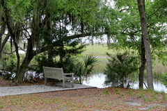 Peaceful scene with old,weathered bench by water's edge Stock Photography