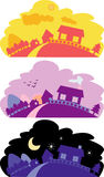 Peaceful scenery. Vector illustration of a peaceful country side scenery with houses and mountain, in the morning, evening and at night Stock Image