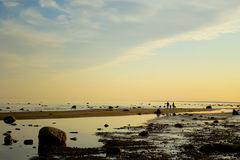 Peaceful scenery. With a family silhouette Royalty Free Stock Photography