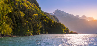Peaceful scenery with the Swiss Alps and Lake Walensee Royalty Free Stock Image