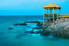 Peaceful Sea. Long-time exposure in the night gives us a peaceful and soft view of the sea. (taken in Sanya, China Royalty Free Stock Images