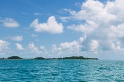 Peaceful seascape of Koh Mud Sum island near Samui isalnd, Thailand. Peaceful blue sea water and blue sky of Koh Mud Sum small island near Koh Samui isalnd royalty free stock photos