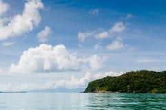 Peaceful seascape of Koh Tean island near Samui isalnd, Thailand. Peaceful blue sea water and blue sky of Koh Tean small island near Koh Samui isalnd, Thailand royalty free stock photos