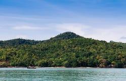 Peaceful seascape of Koh Tean island near Samui isalnd, Thailand. Peaceful blue sea water and blue sky of Koh Tean small island near Koh Samui isalnd, Thailand stock photography
