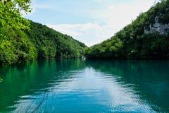 Calm Turquoise Water, Plitvice Lakes, Croatia. Peaceful and serene Plitvice Lakes, Plitvice National Park, European Union, Dalmatia, a UNESCO World Heritage stock images