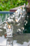 Peaceful Setting Candle on Water Royalty Free Stock Images