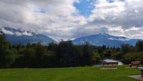 Peaceful Setting on a Whistler bike path. View toward Whistler Mountain and Blackcomb Stock Image