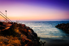 Peaceful Shoreline Sunset Stock Image
