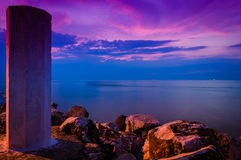 Peaceful Shoreline Sunset Stock Photo