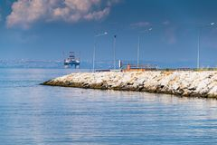 Peaceful Shoreline Of Yalova City In Bright Summer Day - Turkey. Peaceful shoreline of yalova city in a bright summer where local everyday citizens of Yalova Royalty Free Stock Photo
