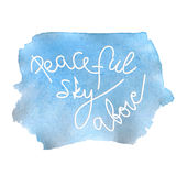 Peaceful sky lettering Royalty Free Stock Photo