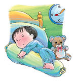 Peaceful sleep. A boy peacefully sleep in his bedroom Stock Images