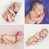 Peaceful sleep of a newborn baby,a collage of four pictures. On different backgrounds,cute baby sleeping sweetly tucked arms and legs Royalty Free Stock Photography