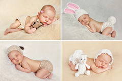 Peaceful sleep of a newborn baby,a collage of four pictures. On different backgrounds,cute baby sleeping sweetly tucked arms and legs stock photo