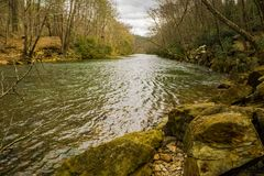 The Smith River below the Philpott Lake Dam - 3 stock images