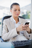 Peaceful sophisticated businesswoman texting. In bright office Stock Images