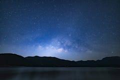 Peaceful starry night sky background stock photos