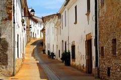 A peaceful street in Begur Stock Photo