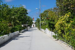 Peaceful street church Rangiroa French Polynesia Stock Photography