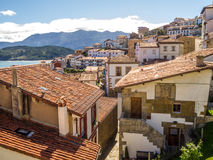 Peaceful street of lastres, asturias Royalty Free Stock Images