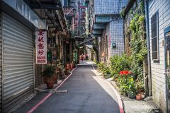 Jiufen. The peaceful street of old town at Jiufen stock image