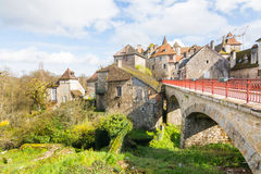 Peaceful streets of carennac village at france stock photos