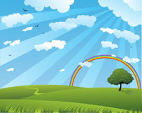 Peaceful summer. Landscape with rainbow Stock Image