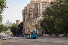 Peaceful summer evening in a Moscow street. Streets of the central part of the capital aren`t crowded in the evening of the weekend, and traffic is unhindered stock photos