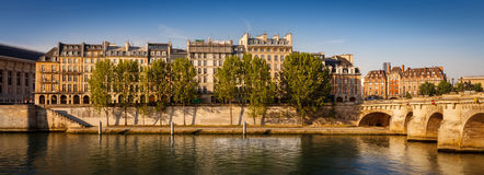 Peaceful summer morning along the River Seine, Paris Stock Images