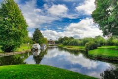 A peaceful Summer scene on the lancaster canal. stock photography