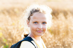 Peaceful Sunny Girl on Meadow Royalty Free Stock Photos