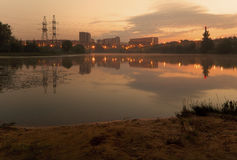 Peaceful Sunrise. Over pond in an urban area Stock Image
