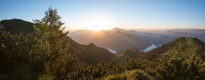 Peaceful sunrise landscape in the bavarian mountains Royalty Free Stock Photography