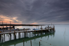 Peaceful sunset in the Carrasqueira pier. Stock Photography