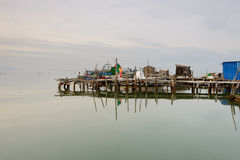 Peaceful sunset in the Carrasqueira pier. Stock Photo