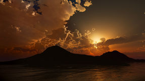Peaceful Sunset or dawn. Photo real 3D rendering Stock Photography