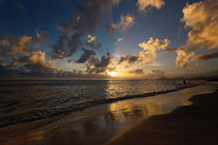 Peaceful Sunset on Exotic Caribbean Beach Royalty Free Stock Images