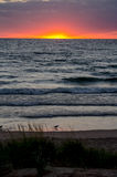 Peaceful sunset on lake michigan Stock Images