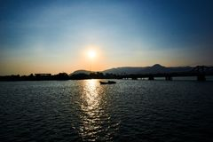 Peaceful Sunset over mountain in Kampot Cambodia royalty free stock image